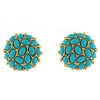 Kenneth Jay Lane grote gouden & Turquoise Cabochons Clip op oorbellen