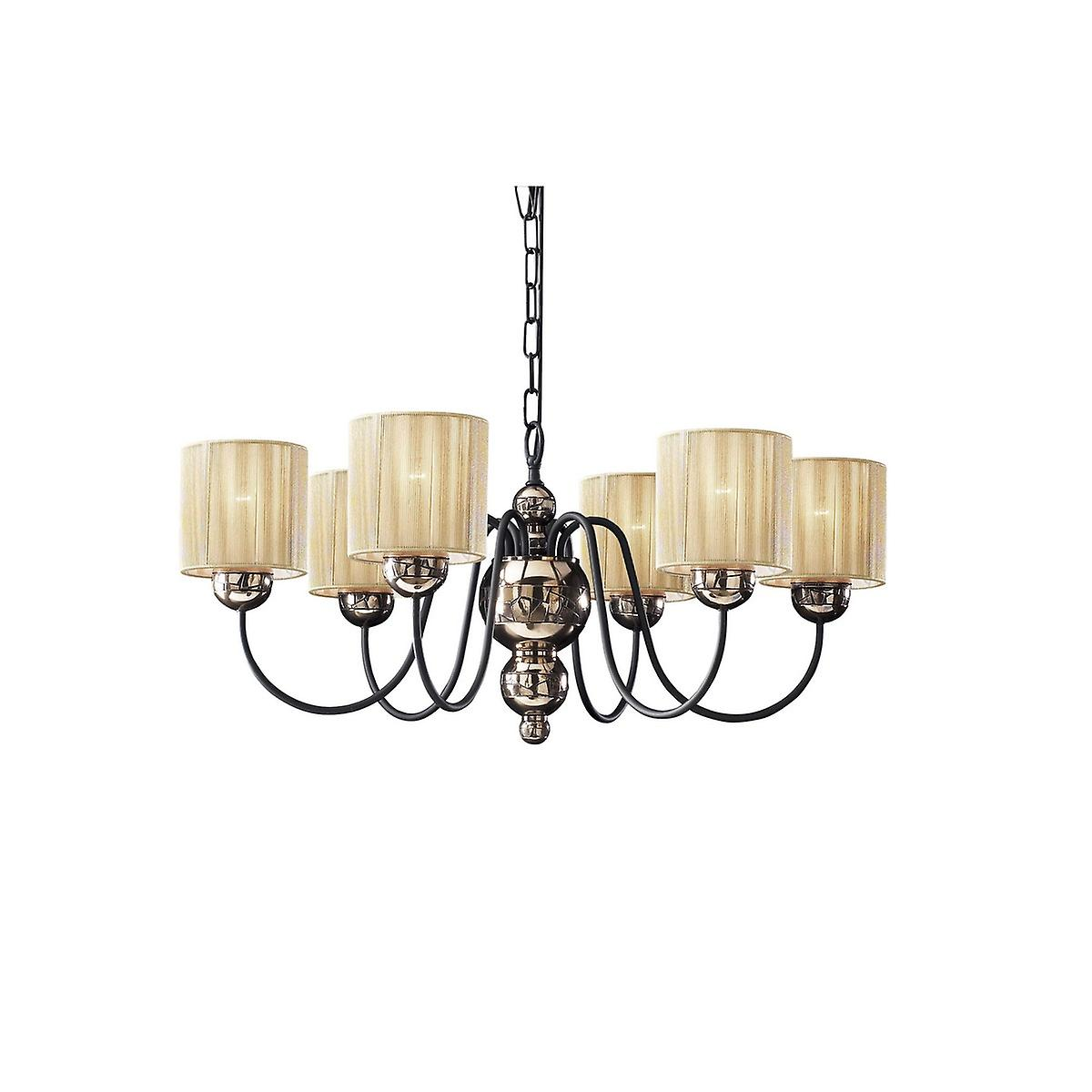 David Hunt GAR0664 Garbo 6 Light Pendant In A Bronze Finish With Gold String Shades