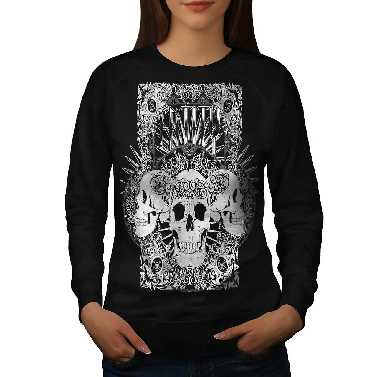 Entity Monster Skull Grave Yard Women Black Sweatshirt | Wellcoda