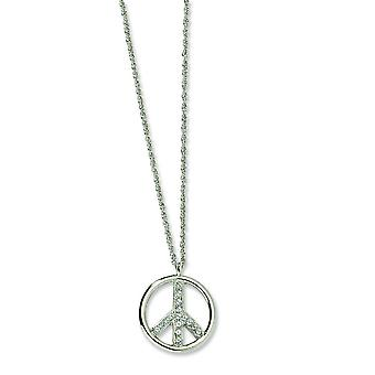 Zilver-tone Crystal vrede symbool 16 Inch met ext ketting