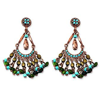Copper-tone Green Teal and Brown Acrylic Beads Post Earrings