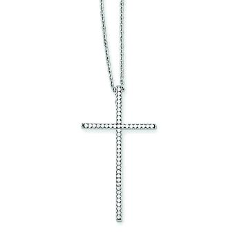 Sterling Silver and CZ Brilliant Embers Cross Necklace - 18 Inch