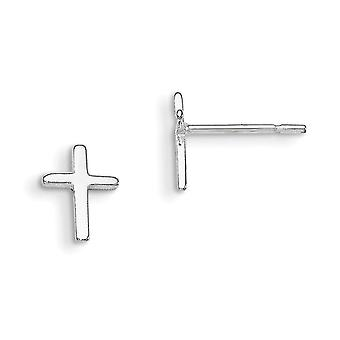 Sterling Zilver gepolijst Post oorbellen Kruis Mini kinderen oorbellen -.6 gram