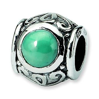 Sterling Silver Antique finish Reflections SimStars Created Simulated Turquoise Cubic Zirconia Bead Charm