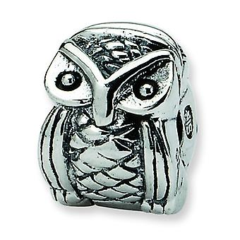 Sterling Silver Hinged Antique finish Reflections Kids Owl Clip Bead Charm