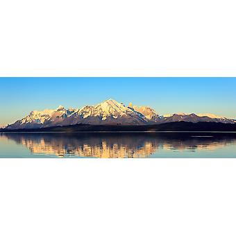 View of the Sarmiento Lake and Cordillera Paine at sunrise Torres del Paine National Park Patagonia Chile Poster Print