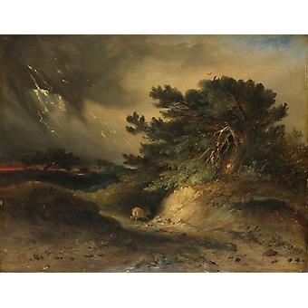The Thunderstorm By Johannes Tavenraat 1843 Dutch Painting Oil On Panel Dramatic Storm Scene Incorporating Strong Opposing Shapes And Energetic Painterly Color Application Poster Print