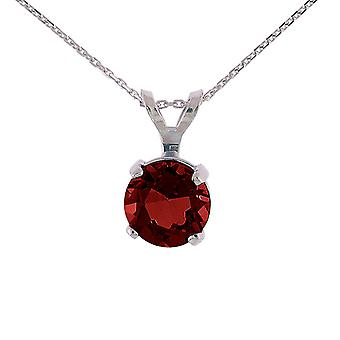 14k White Gold 6mm Round Garnet Stud Pendant (.85 ct) with 18