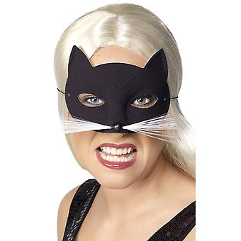 Smiffys Womens Cat Eye Mask Fancy Dress Halloween Costume Accessory Black