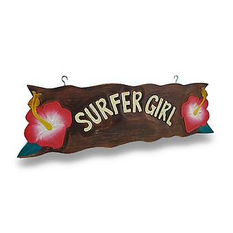 Surfer Girl Wooden Sign w/Pink Hibiscus Flower Accents 23 in.