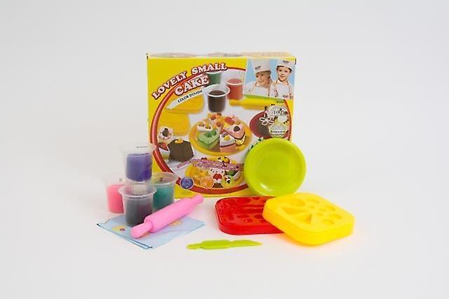 Children's Colour Dough Cake Set With 4 Pots Of Dough And Moulds