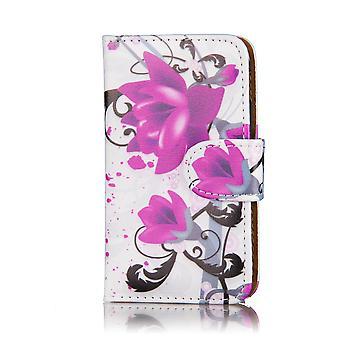 Projekt książki PU skóry skrzynki pokrywa dla Sony Xperia Z3 Compact - Fioletowych róż