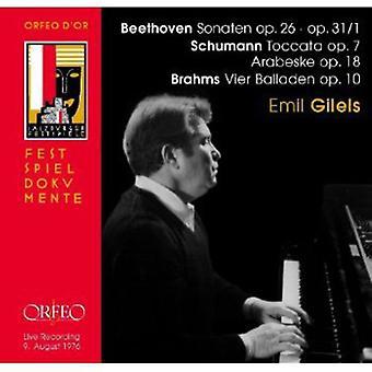 Beethoven/Schumann/Brahms - Beethoven: Sonaten op. 26, op. 31/1; Schumann: Toccata; Arabeske; Brahms: Vier Balladen [CD] USA importare