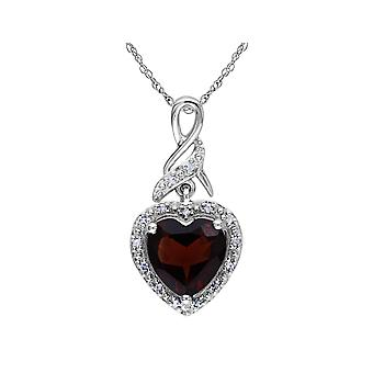 Garnet Heart Pendant Necklace 2.0 Carats (ctw) in Sterling Silver with Chain