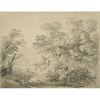 Thomas Gainsborough - Wooded Landscape with a Donkey Poster Print Giclee