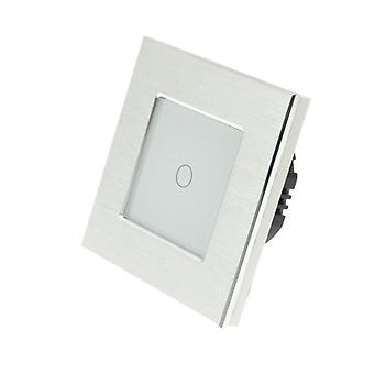 I LumoS Silver Brushed Aluminium 1 Gang 1 Way Remote Touch LED Light Switch White Insert