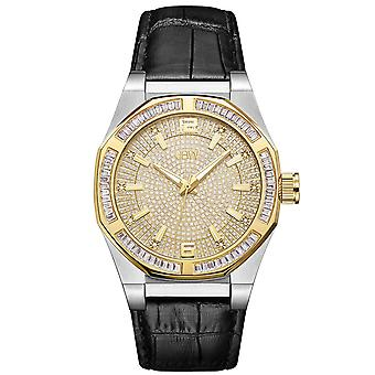 JBW men's diamond watch with Swarovski crystals silver gold