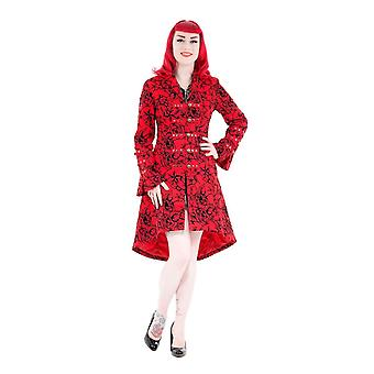 H&R Red Fitted Long Tattoo Flock Coat 24