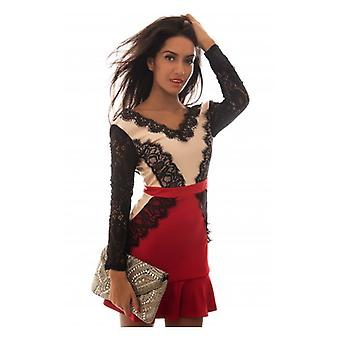 The Fashion Bible Luxe Red Long Sleeve Backless Lace Ruffle Dress