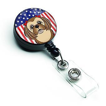 Carrete retráctil insignia bandera americana y Chocolate marrón Shih Tzu