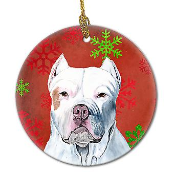 Pit Bull Red Snowflakes Holiday Christmas Ceramic Ornament SC9421