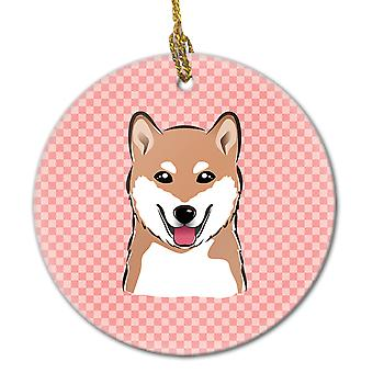 Carolines Treasures  BB1225CO1 Checkerboard Pink Shiba Inu Ceramic Ornament