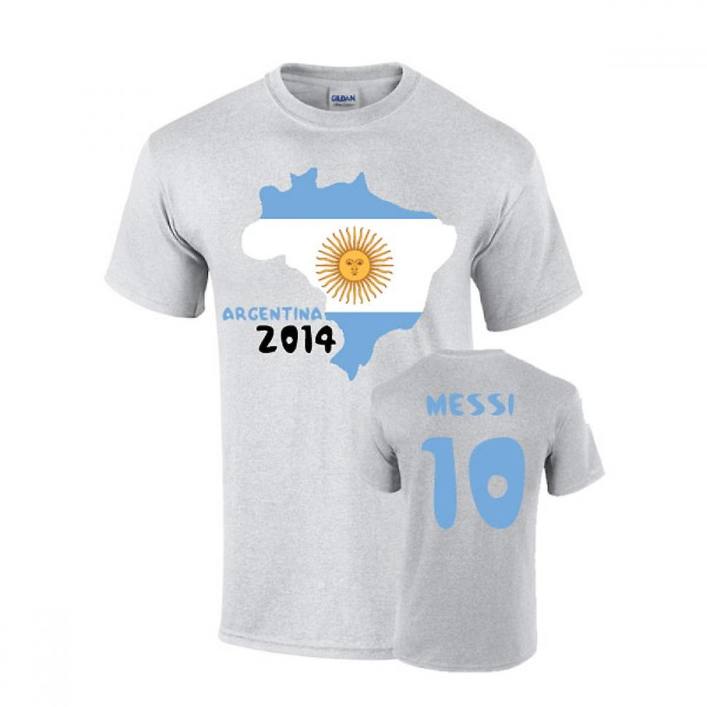 Argentinië 2014 Country Flag T-shirt (messi 10)