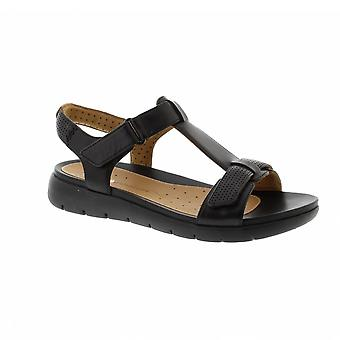 Clarks Un Haywood - Black Leather Womens Sandals