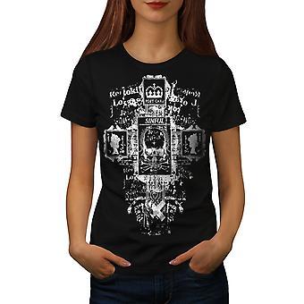 Koningin King Skull Vintage vrouwen gekleedinzwartet-shirt | Wellcoda