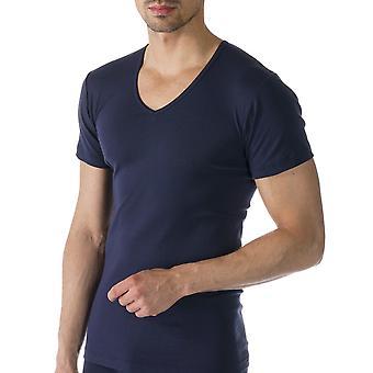 Mey 49107-668 Men's Casual Cotton Blue Solid Colour Short Sleeve Top