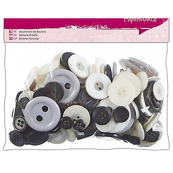 SALE -  250g Assorted Buttons Pack for Crafts - Monochrome
