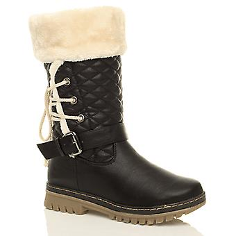 Ajvani womens flat grip sole quilted fur lined winter boots