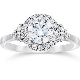 1 カラット Halo ヴィンテージ ダイヤモンド婚約指輪 14 K ホワイトゴールド