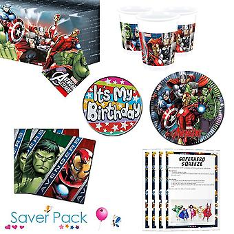 Avengers party tableware saver pack for 8, 16, 24 or 32 guests - 24 guests