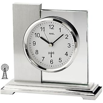 Radio-controlled clock table clock radio silver metal enclosure polished mineral glass