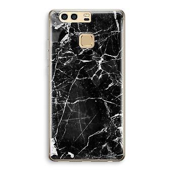 Huawei P9 Transparent Case (Soft) - Black Marble 2