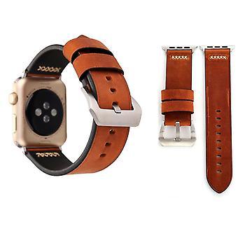 Pulsera de cuero para serie de Apple Watch 1 / 2 / 3 café 42 mm