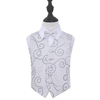 Silver Scroll Wedding Waistcoat & Bow Tie Set for Boys