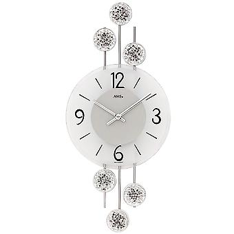 Wall clock quartz analog silver modern AMS 9440 with metal and glass