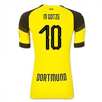 2018-2019 Borussia Dortmund Puma autentiske EvoKNIT hjem fodboldtrøje (M Gotze 10)