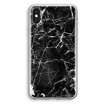 iPhone XS Transparant Case (Soft) - Black Marble 2