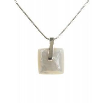 Cavendish madre francesa blanco y plateado de pastilla perla colgante con cadena de plata de 16-18