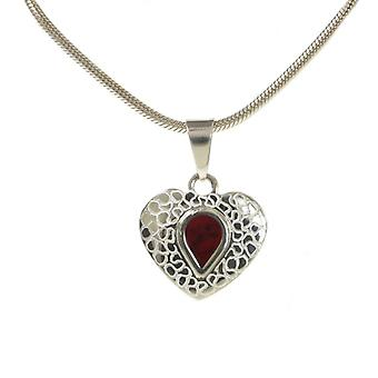 "Cavendish French Etched Silver and Red Jasper Heart Pendant with 18 - 20"" Silver Chain"