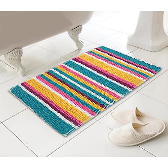 Microfibre Bathmat Bathroom Shower Mat Stripy Soft Absorbent Non-Slip Rug