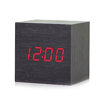 House Mini Small Desktop Table Wooden Wood Desk Modern Led Digital Alarm Clock Home Decor Square Sound Control Clocks Decor