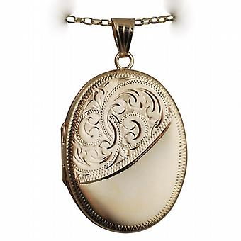 9ct Gold 35x26mm half engraved flat oval Locket with a belcher Chain 16 inches Only Suitable for Children