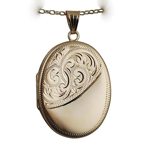 9ct Gold 35x26mm half engraved flat oval Locket with a belcher chain