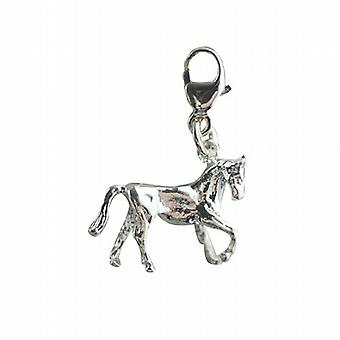 Silver 12x15mm Horse standing lifting a front hoof Charm on a lobster trigger
