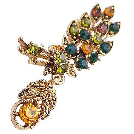 Antique Gold Leaf Brooch Cute Dangling Multicolor Crystals Brooch Pin