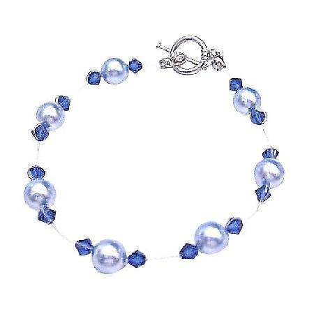Prom Bracelet Swarovski Lite Blue Pearl Sapphire Crystal Cheap Jewelry
